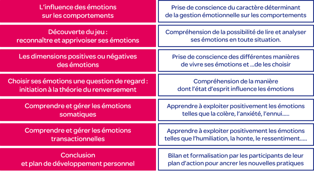 Formation reconnaitre et apprivoiser ses émotions